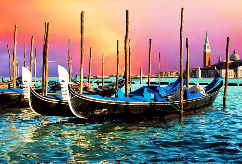 Venedik'te Gün Batımı Yağlı Boya Sanat Kanvas Tablo