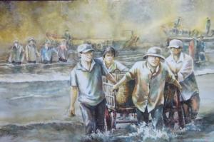 Vietnem Balıkçılar-1 Modern Sanat Kanvas Tablo