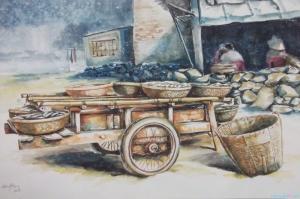 Vietnem Köy Pazarı-1 Modern Sanat Kanvas Tablo