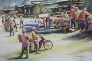 Vietnem Köy Pazarı-2 Modern Sanat Kanvas Tablo