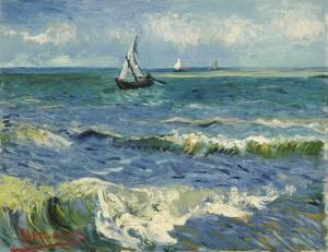 Vincent Van Gogh Dalga ve Yelkenli Yağlı Boya Sanat Kanvas Tablo