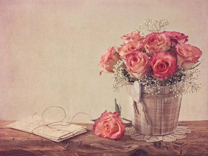 Vintage Floral Sanat Kanvas Tablo