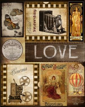 Vintage Love Retro & Motto Kanvas Tablo