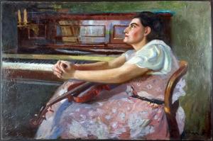 Violinli Kadın, Francois Cron Klasik Sanat Kanvas Tablo