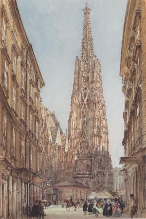 Viyana'daki Stephen'ın Katedrali, The St Stephen's Cathedral in Vienna-1847 Rudolf Von Alt, Klasik Sanat Kanvas Tablo