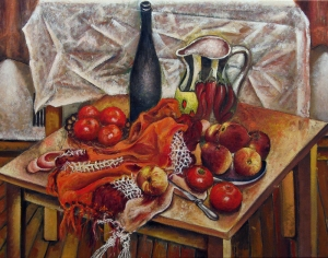 Vladimir Kezerashvili Şeftali Ve Domatesler Kalsik Sanat Kanvas Tablo