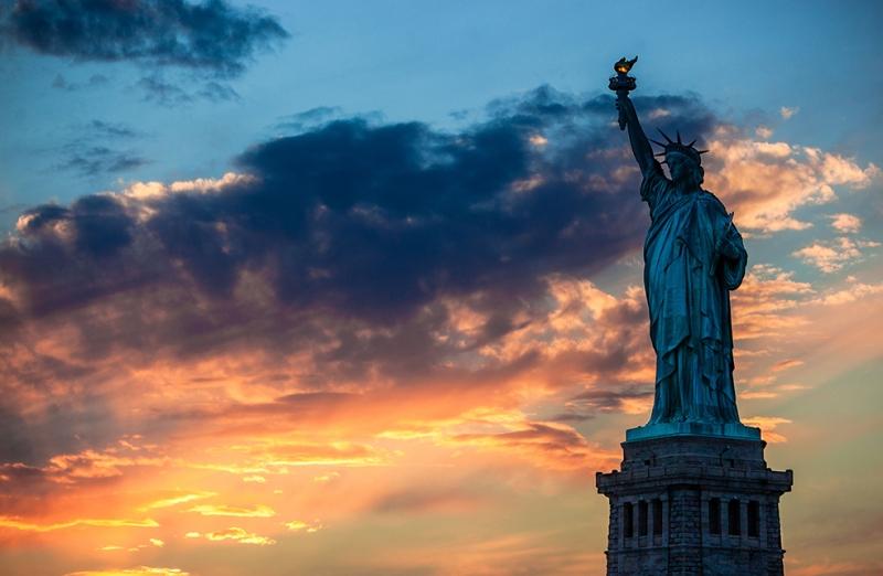 Washington Özgürlük Heykeli Şehir Manzarası Dünyaca Ünlü Şehirler Kanvas Tablo