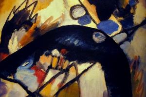 Wassily Kandinsky Black Spot-1912, Reprodüksiyon Klasik Sanat Kanvas Tablo