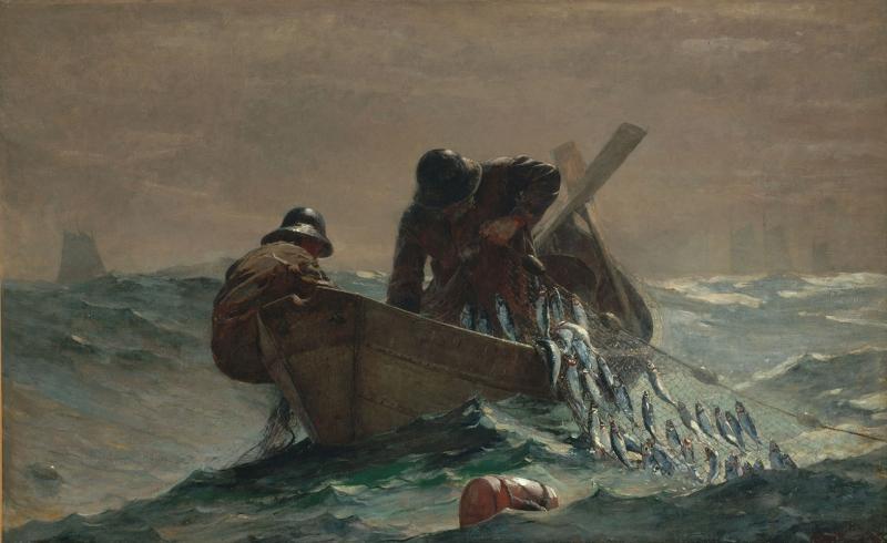 Winslow Homer Dalgali Denizde Balik Avi Yagli Boya Klasik