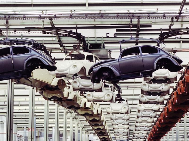 Wolksvagen Beetle Fabrikası Retro Otomobil Araçlar Kanvas Tablo