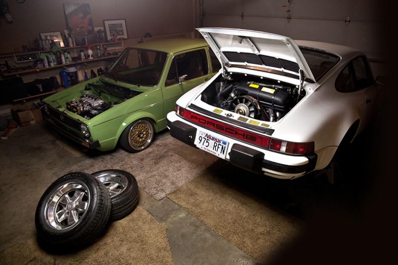 Wolksvagen Golf ve Porsche 911 Otomobil Araçlar Kanvas Tablo