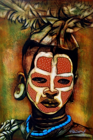 YağlI Boya Abstract Afrikalı Kız Kanvas Tablo