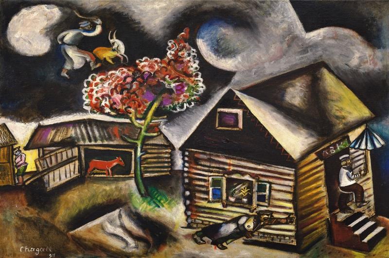 Yağmur Günü Marc Chagall La Pluie Klasik Sanat Kanvas Tablo