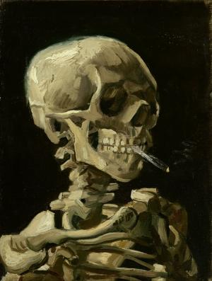 Yanan Sigara ve İskelet Vincent Van Gogh Yağlı Boya Sanat Kanvas Tablo