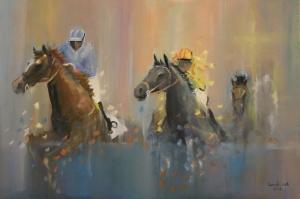 Yarış Atları Jokey 1 Yağlı Boya Sanat Kanvas Tablo