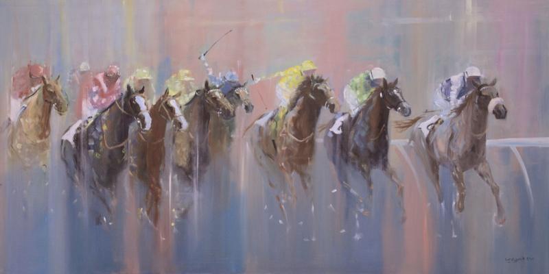 Yarış Atları Jokey 2 Yağlı Boya Sanat Kanvas Tablo