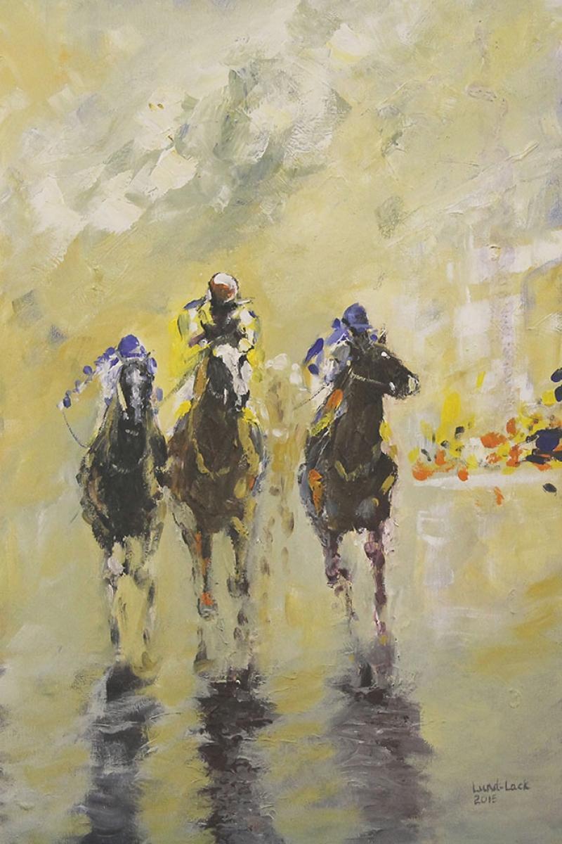 Yarış Atları Jokey 3 Yağlı Boya Sanat Kanvas Tablo