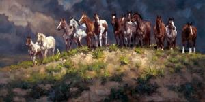 Yarış Atları Jokey 5 Yağlı Boya Sanat Kanvas Tablo