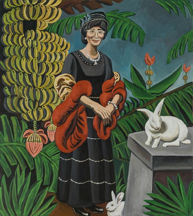 Yaşlı Kadın ve Tavşan Yağlı Boya Sanat Kanvas Tablo