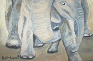 Yavru Filler Ve Fil Ailesi-104 Hayvanlar Modern Sanat Kanvas Tablo