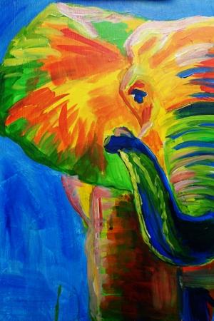 Yavru Filler Ve Fil Ailesi-105 Hayvanlar Modern Sanat Kanvas Tablo