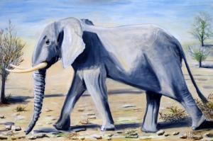 Yavru Filler Ve Fil Ailesi-106 Hayvanlar Modern Sanat Kanvas Tablo