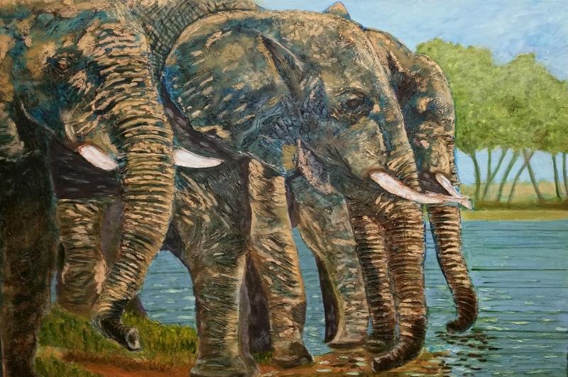 Yavru Filler Ve Fil Ailesi-108 Hayvanlar Modern Sanat Kanvas Tablo