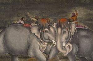Yavru Filler Ve Fil Ailesi-112 Hayvanlar Modern Sanat Kanvas Tablo
