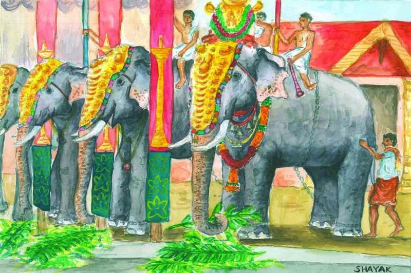 Yavru Filler Ve Fil Ailesi-113 Hayvanlar Modern Sanat Kanvas Tablo