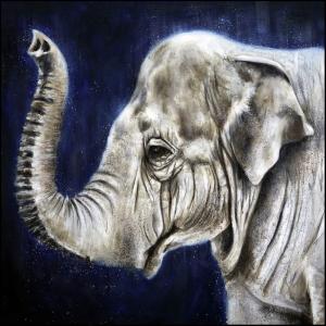 Yavru Filler Ve Fil Ailesi-114 Hayvanlar Modern Sanat Kanvas Tablo