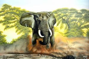 Yavru Filler Ve Fil Ailesi-116 Hayvanlar Modern Sanat Kanvas Tablo