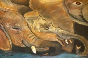 Yavru Filler Ve Fil Ailesi-118 Hayvanlar Modern Sanat Kanvas Tablo