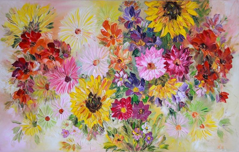 Yaz Çiçekleri Floral Yağlı Boya Sanat Kanvas Tablo