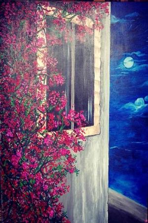 Yaz Gecesi Manzara Sanat Kanvas Tablo