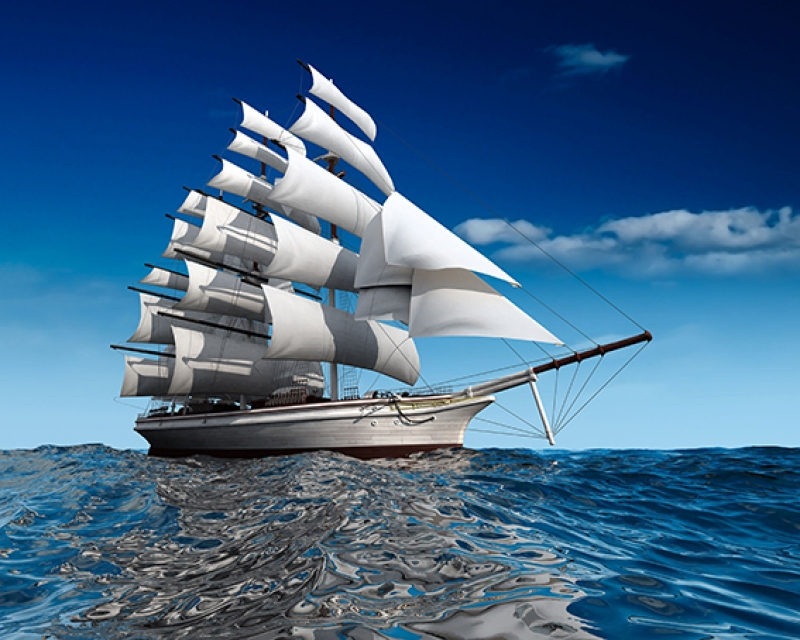 Yelkenli Gemi Kanvas Tablo