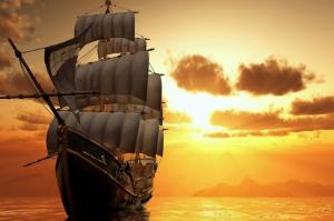 Yelkenli Gün Batımı Deniz Manzarası-1 Modern Sanat Kanvas Tablo