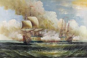 Yelkenli Savaş Tekneleri 1, Deniz Manzaraları Yağlı Boya Dekoratif Modern Kanvas Tablo