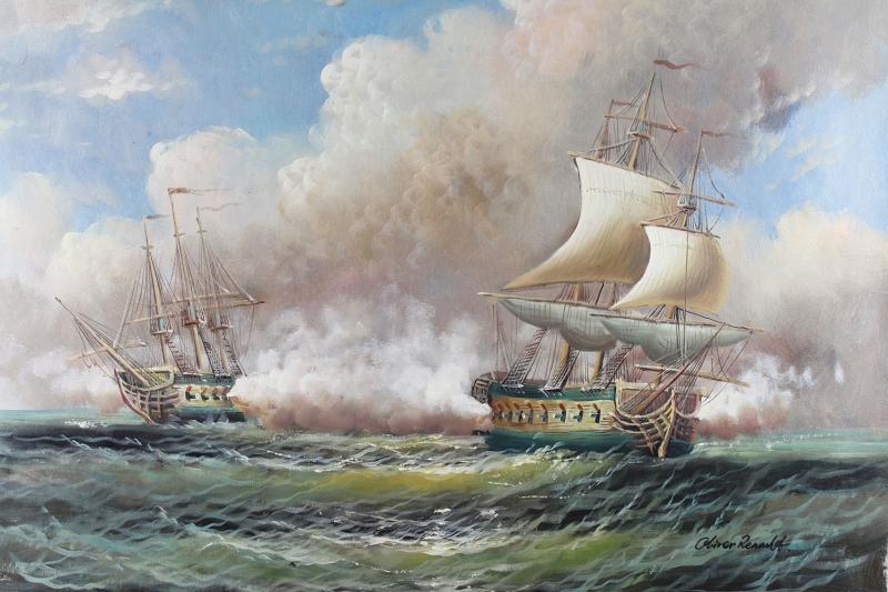 Yelkenli Savaş Tekneleri 2, Deniz Manzaraları Yağlı Boya Dekoratif Modern Kanvas Tablo