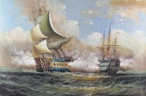 Yelkenli Savaş Tekneleri 3, Deniz Manzaraları Yağlı Boya Dekoratif Modern Kanvas Tablo