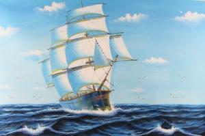 Yelkenli Savaş Tekneleri 4, Deniz Manzaraları Yağlı Boya Dekoratif Modern Kanvas Tablo