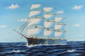 Yelkenli Savaş Tekneleri 5, Deniz Manzaraları Yağlı Boya Dekoratif Modern Kanvas Tablo
