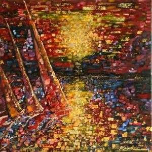 Yelkenli Tekneler YariŞ 1, Deniz Manzara Dekoratif Canvas Tablo