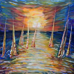Yelkenli Tekneler Yarış 2, Deniz Manzara Dekoratif Canvas Tablo