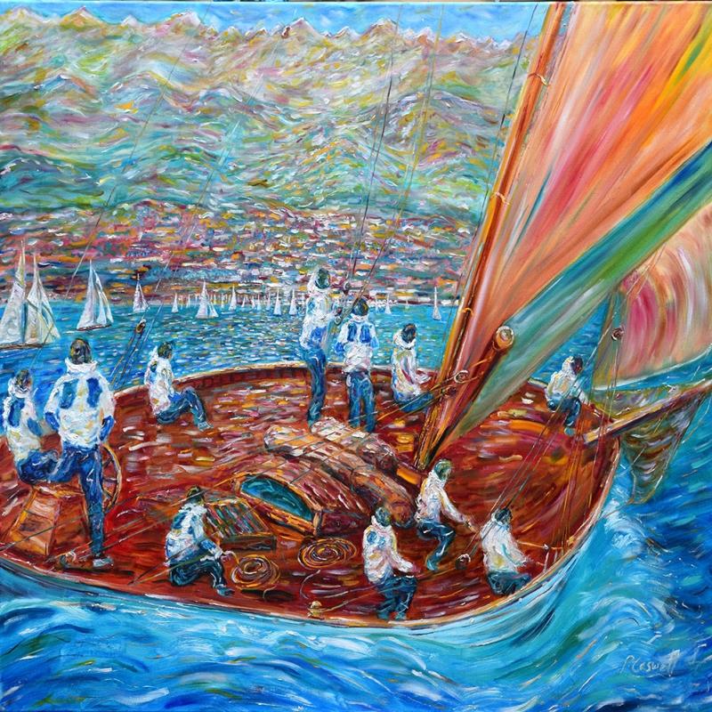 Yelkenli Tekneler Yarış 4, Deniz Manzara Dekoratif   Canvas Tablo