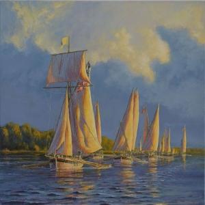 Yelkenli Tekneler Yarış 5, Deniz Manzara Dekoratif Canvas Tablo