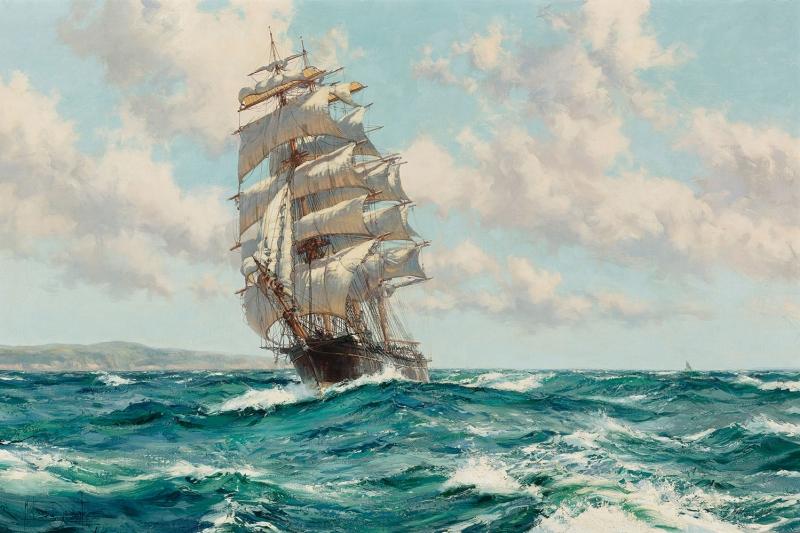Yelkenli Tekneler Yarış 7 Deniz Manzara Yağlı Boya Dekoratif Modern