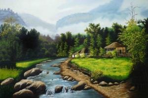 Yemyeşil Orman, Nehir, Doğa Manzarası Kanvas Tablo