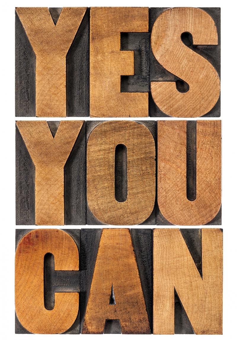 Yes You Can Motivasyon Retro & Motto Kanvas Tablo