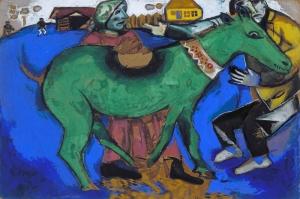 Yeşil Eşek Günü Marc Chagall The Green Donkey Klasik Sanat Kanvas Tablo