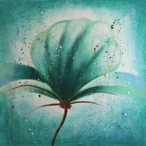 Yesil Renkli Çiçekler 4 Dekoratif  Modern  Kanvas Tablo